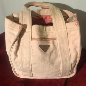 Authentic Prada Canvas Misto Lino Shopping Tote